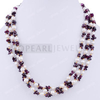 Wholesale Garnet Necklace Free Shipping - Free shipping!3 Strand White Freshwater Pearl Garnet Chip Necklace NJ304460