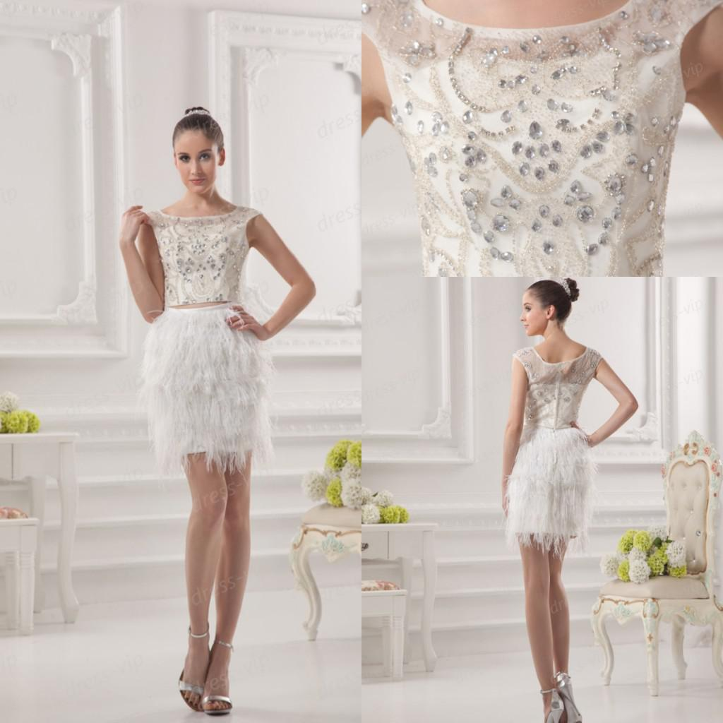Real Sample 2013 Luxurious Ostrich Feather Beaded Detachable Short ...