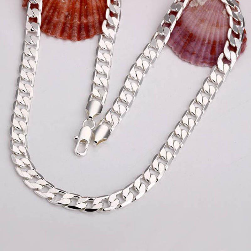 Цепи горячей продажи мужских ювелирных изделий 10шт 925 серебро мужская ожерелье 20inch ювелирных изделий из серебра