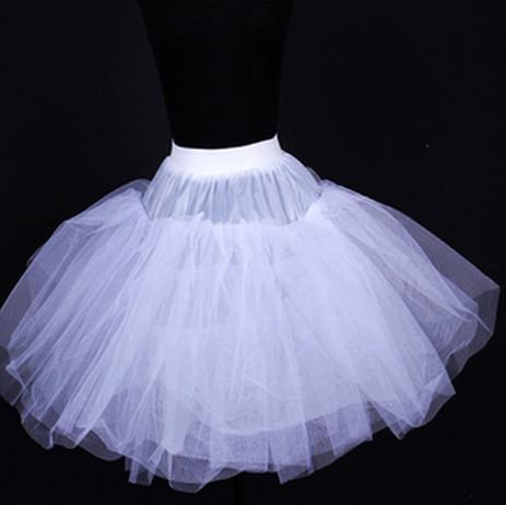 高品質なしフープボーン3層プロムスカートショートドレススリップショートウェディングドレスペチコート01