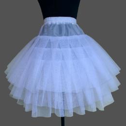 Короткая юбка петуха онлайн-3 Слоя Белый Короткий Коктейль Hoopless Кружева Свадебные Юбки Люкс Скольжения Кринолин