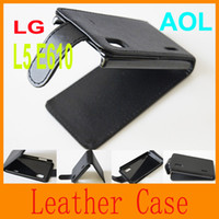 Wholesale Lg Optimus L5 Phone Cases - Cell phone case black Flip Hard Vertical Leather Case Cover For LG Optimus L5 E610 free shipping