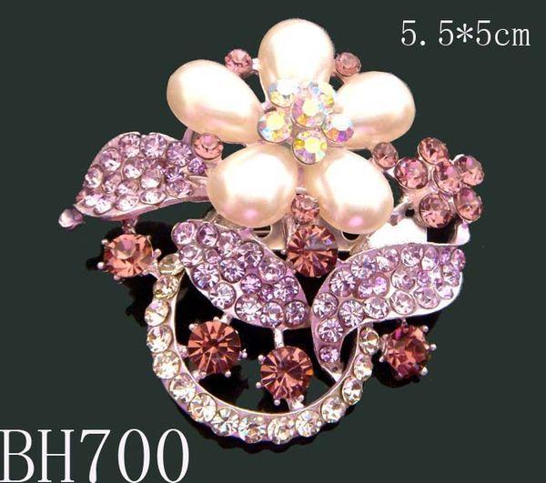 hot sale wedding plating silver fashion zinc alloy rhinestone flower Brooch bride jewelry Free shipping 12pcs lot mixed color BH700