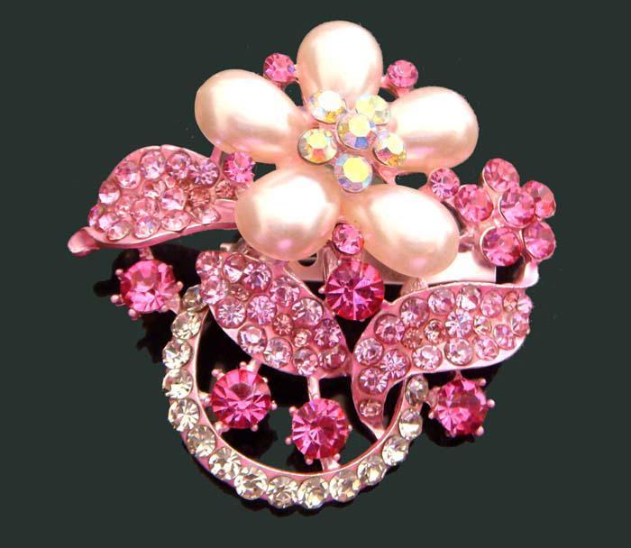 hot sale wedding plating silver fashion zinc alloy rhinestone flower Brooch bride jewelry mixed color BH700