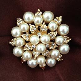 Wholesale Wedding Cake Crystals - 2 Inch Gold Plated Cream Pearl and Rhinestone Crystal Diamante leaf Flower Bridal Cake Brooch Pins