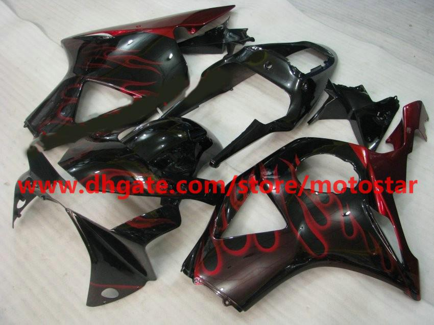 Personalizar gratis Carenado de la carrocería de llama roja para el kit de carenados HONDA CBR954RR 954 2003 2002 CBR900 954RR CBR954 02 03 CBR900RR