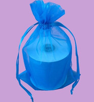Wholesale Turquoise Jewelry For Wedding - MIC 100 Turquoise 7x9cm 9X12cm 13X18cm Organza Jewelry Gift Pouch Bags For Wedding favors,beads,jewelry 13022712