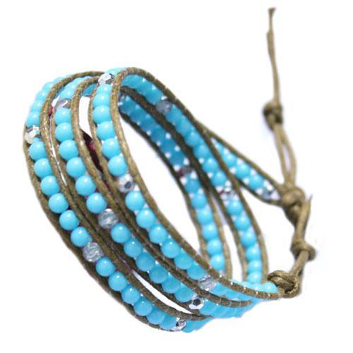 Promoção! New Turquoise Leather Wrap Bracelet 5 cores disponíveis 20 pçs / lote frete grátis