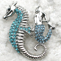 Wholesale Mermaid Pins - Wholesale Fashion Brooch Rhinestone Mermaid Seahorse Pin brooches Jewelry Gift C101772