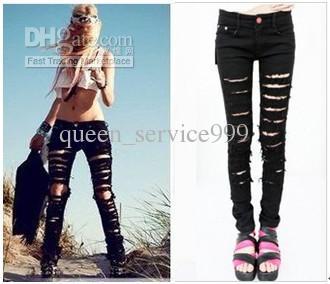 acheter noir jeans trou v tements et femmes de grande taille mince jeans baggy mince de. Black Bedroom Furniture Sets. Home Design Ideas