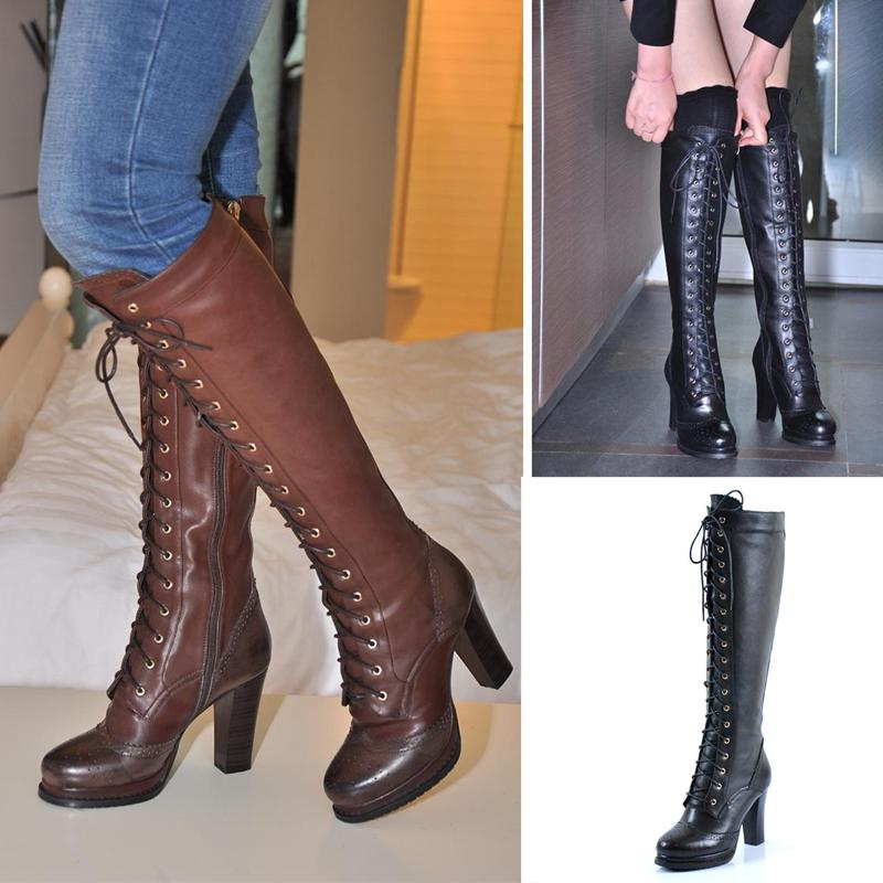 2012 Genuine Leather Boots Female Long Boots High Heeled Over The ...