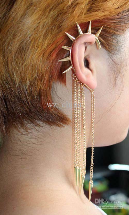 Esagera conica goccia d'oro lega punk unico orecchio polsino ciondola orecchino piercing gioielli per il corpo