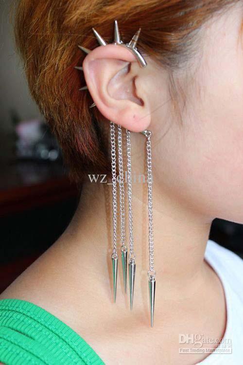 Brand NEW buy 1 get 2 WOMENS SPIKE EAR CUFF CHAIN STUD STUDDED RIVET PUNK EARRING EARCUFF