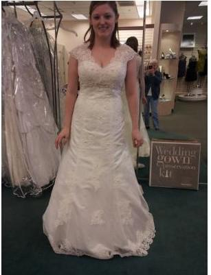 Discount Beaded Cap Sleeve Lace Over Satin Gown With Illusion Back