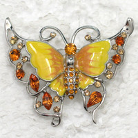 Wholesale Enamel Butterfly Brooches - Wholesale Rhinestone Enamel Butterfly Pin brooches Fashion jewelry gift C101897