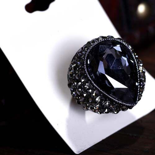 Freeshipファッションスタイル!ビッグドームリング調節可能サイズオープンリングクリアラインストーンの結婚指輪