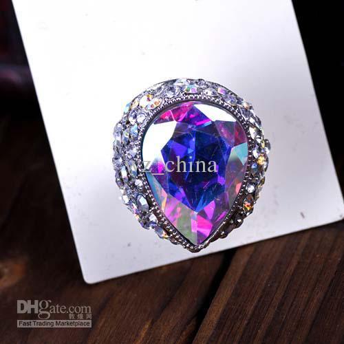 Freeship estilo de moda! Grande cúpula anel de tamanho ajustável anel aberto anel de dedo de casamento de strass claro