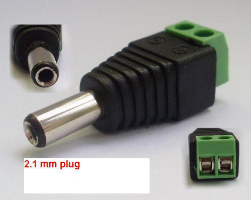 5.5/2.1mm Male CCTV UTP Power Plug jack socket Adapter Cable DC/AC 2, Camera Video Balun Connector