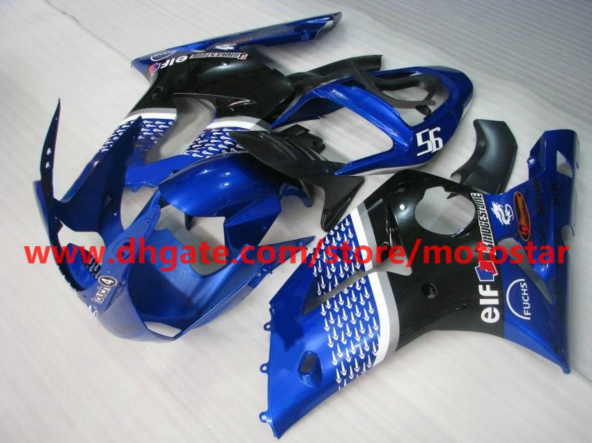 hot sale blue ELF INJECTION mold fairings for 2003 2004 Kawasaki ninja ZX-6R ZX6R 03 04 ZX 6R RX1B
