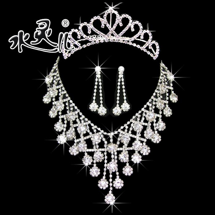 Artificial Diamond Bridal Jewelry Sets Jewellery Wedding Set Crown Necklace Earrings Ring Prices