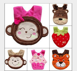 Barato Toalha De Bebê-Baby lances Cater's cartoon Animal forma toweling bibs impermeável babador Burp pano