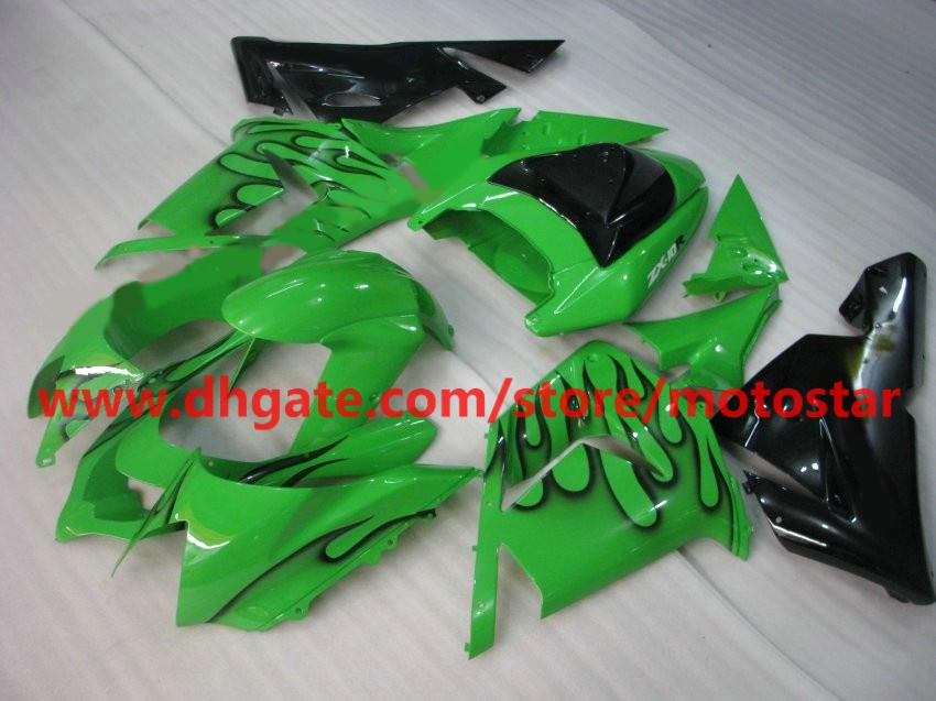 For Kawasaki 2004 2005 ninja ZX-10R INJECTION fairings kit ZX 10R 04 05 ZX10R black flames green RX8