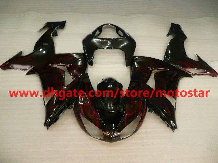 hot sale wine red flames fairing kit FOR Kawasaki ninja ZX-10R 2006 2007 ZX10R 06 07 ZX 10R 06-07