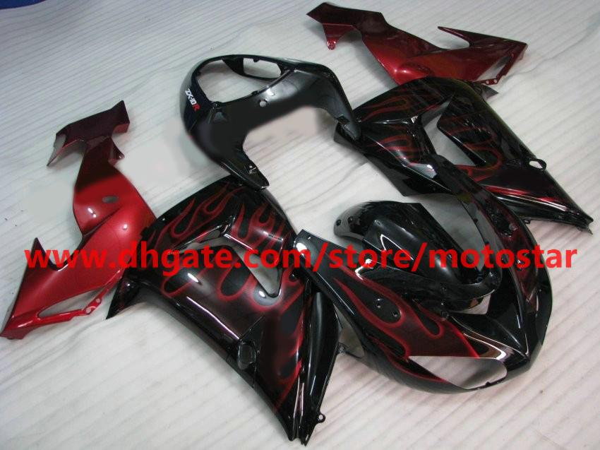 For Kawasaki 2006 2007 ninja ZX-10R INJECTION fairings kit ZX 10R 06 07 ZX10R wine red flame red RX3
