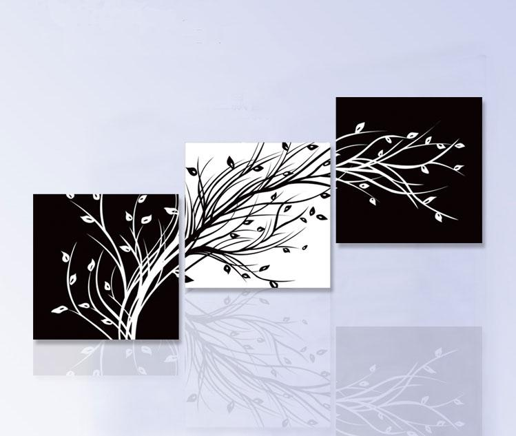 3 Piece Wall Art Modern Abstract Large Cheap Floral Black And White ...
