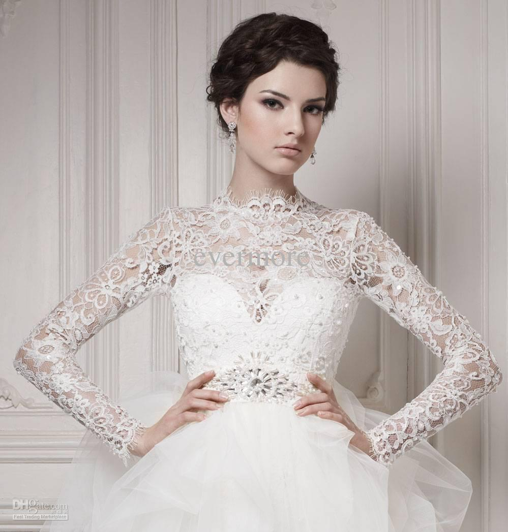 best selling 2013 wedding dresses jewel sheath tulle long lace sleeves sash hi lo bridal