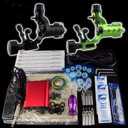 Wholesale Dragonfly Tattoo Machine Kits - Beginner Tattoo Kit 2 Dragonfly Machine Gun LCD Power Supply Foot Pedal Needle Grip Tip K75