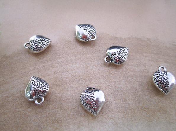 Pendente antico della collana di fascino dell'orecchino del braccialetto del cuore del braccialetto di tono del nastro antico della traversa di fascino trasversale 9Style /
