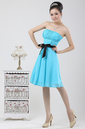 Wholesale Ladies Chiffon Cocktail Dresses - Lady Knee-Length Bridesmaid gown Party Evening Cocktail Dress skirt