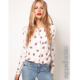 Chemisier rouge à lèvres en Ligne-2016 Automne Blouses et Chemises Nouvelle Mode femmes chemises Hot Red Lip Imprimé chemises de loisirs à manches longues chemises de style occidental