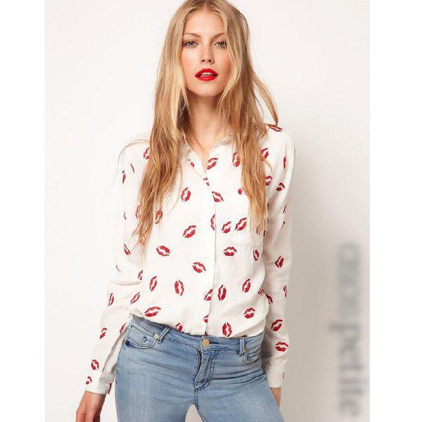 2016 Otoño Blusas y Camisas Nuevas camisas de las mujeres de Moda Hot Red Lip Impreso camisas casuales de manga larga camisas de estilo occidental