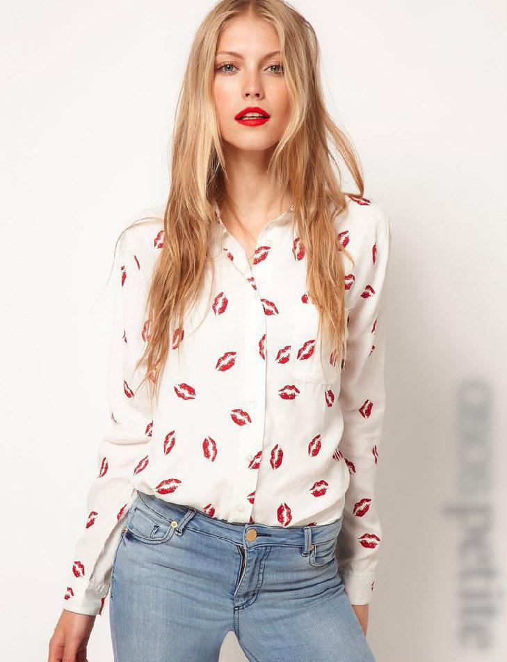 2016 Outono Blusas e Camisas de Moda de Nova mulheres camisas Hot Red Lip Impresso camisas casuais camisas de manga longa estilo ocidental