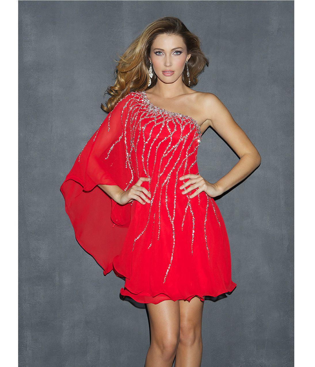 Red Short Fancy Party Dress Cocktail Dress One Shoulder