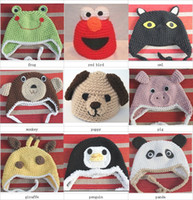 Wholesale Crochet Puppy Hats - Crochet baby hats 0-3Y children's animal caps bear puppy owl 15pcs lot cotton mix design