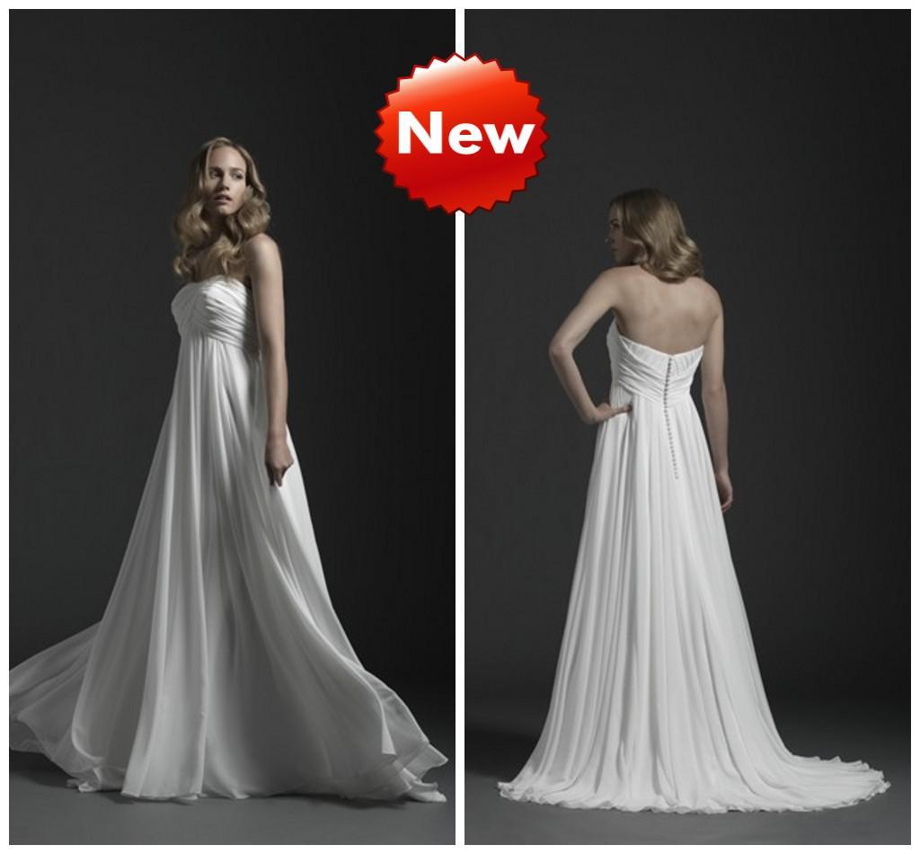 Strapless Empire Maternity Wedding Dresses Chiffon Simple