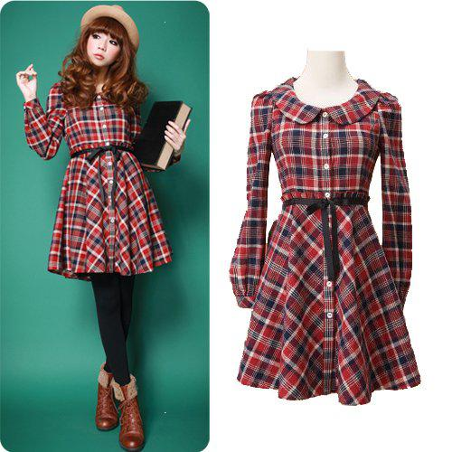 Dresses Alibaba Express New Fall Clothing Women Vintage Cute Preppy Style Plaid Peter Pan Collar