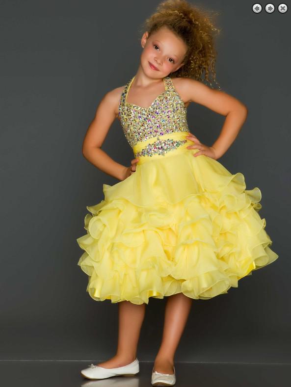Nuevos Vestidos para chicas Vestidos de cumpleaños encantadores Sugar Cupcake Rhinestone Vestido Glitz Pageant personalizado cubierto A1