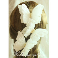 Wholesale Elegant Hair Bows - White Red Butterfly Bridal Hair Clip Wedding Party Prom Evening Hair Accessory Free Shipping High Quality Elegant