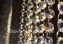 Wholesale Glass Crystal Christmas Tree - 14MM wedding garland crystal prism bead chain, christmas tree crystal strand hung strung 64feet lot