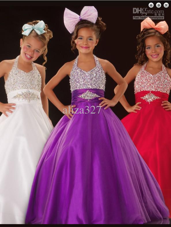 La robe de beauté de la nouvelle fille accrochant le cou pourpre perlé robe PROM robe personnalisée petite fille 2 4 6 8 10 12