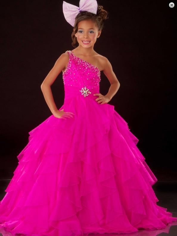 Linda garotinha Beauty Pageant vestido um ombro grânulos vestido vestido de baile tamanho personalizado 2 4 6 8 10 12 14