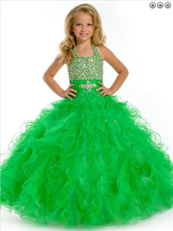 Fashion Pageant Vestido Pendurado Pescoço Frisado Borda Saia Conceito de Prom Vestido Personalizado 2 4 6 8 10 12 14