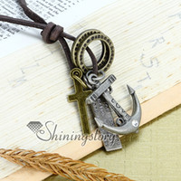 Wholesale anchor jewellery - Anchor mens gothic necklaces antique style jewellery Fashion necklace