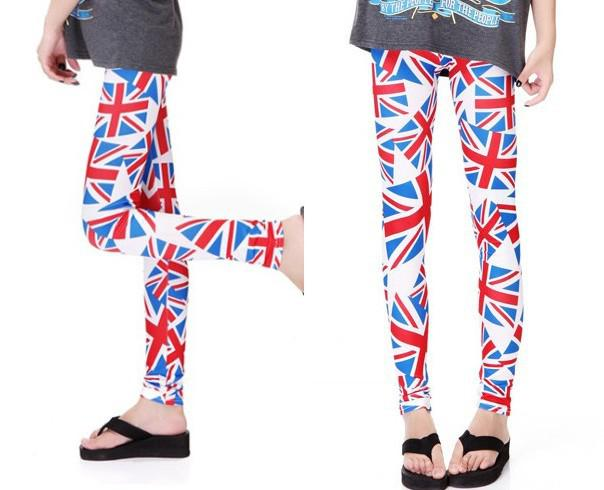 2017 Women Patriotic Uk Country Flag Legging Tight One Size Blue ...