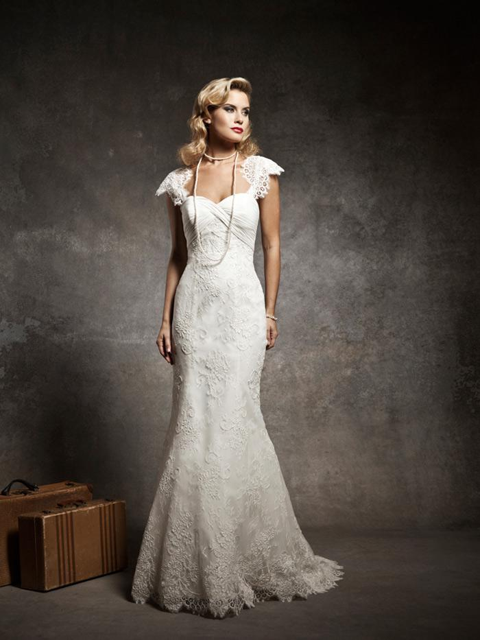 Lace Cap Sleeves Sheath Bridal Wedding Dress With Buttons Mermaid ...