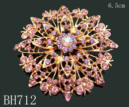 Wholesale Wholesale Rhinestone Flower Brooch - Wholesale Hot Sale Gold plated zinc alloy rhinestone flowers brooches rhinestone jewelry Free shipping 12pcs lot Mixed colors BH712